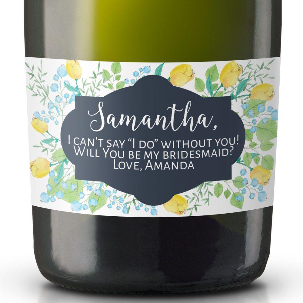 Bridesmaid Mini Champagne Label, Wedding Mini Champagne Label, Custom Champagne Label, Personalized Mini Champagne Label MN#3