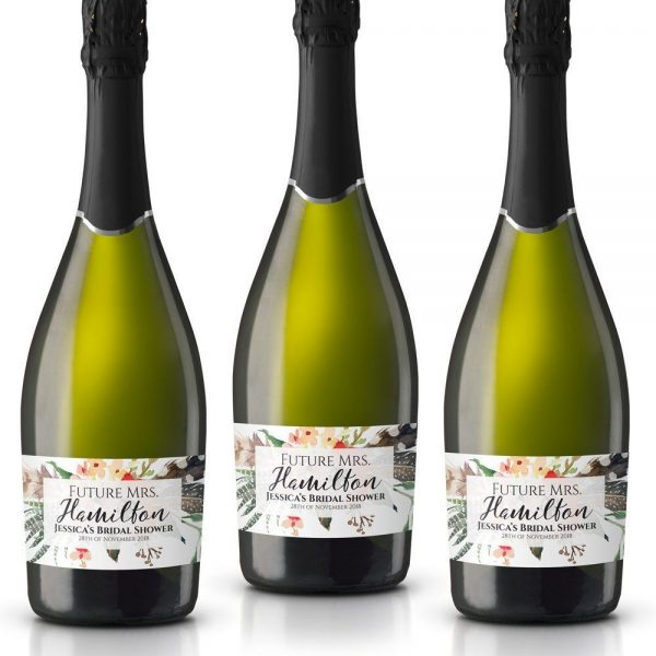 Bridal Party Personalized Mini Champagne Bottle Label Stickers for Bridal Shower, Bachelorette and Engagement Party