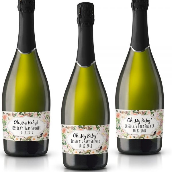 Mini Champagne Bottle Labels for Baby Shower, Baby Shower Mini Champagne Bottle Labels, Custom Champagne Label, MN#21