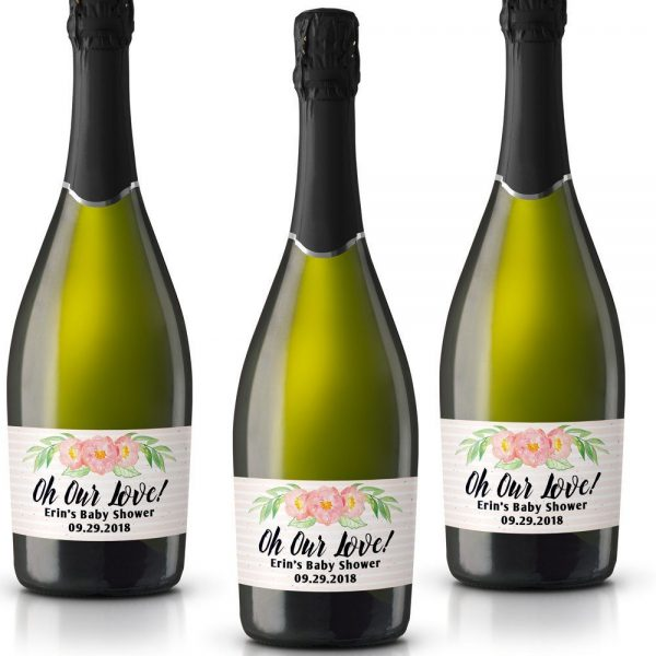 Oh Our Love! Personalized Mini Champagne Bottle Label Stickers for Baby Shower Party