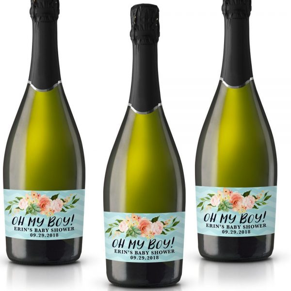 Oh My Boy! Personalized Mini Champagne Bottle Label Stickers for Baby Shower Party