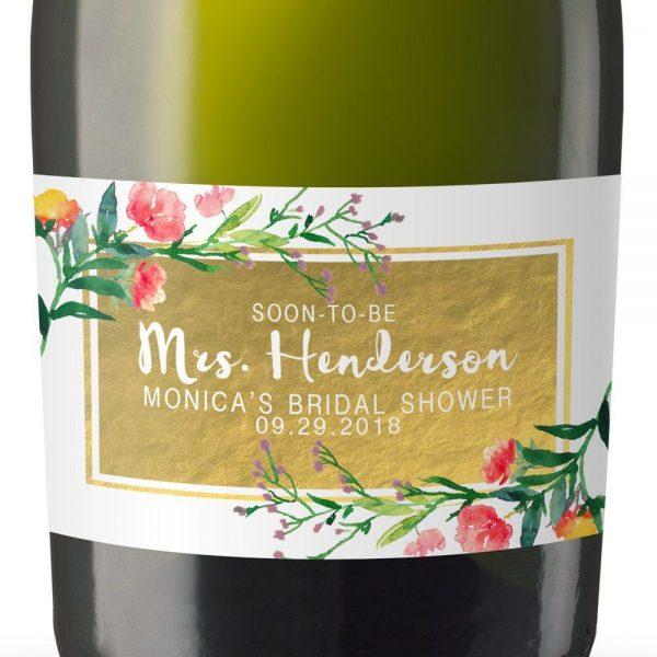 Soon-To-Be Mrs Personalized Mini Champagne Bottle Label Stickers for Bridal Shower, Bachelorette and Engagement Party