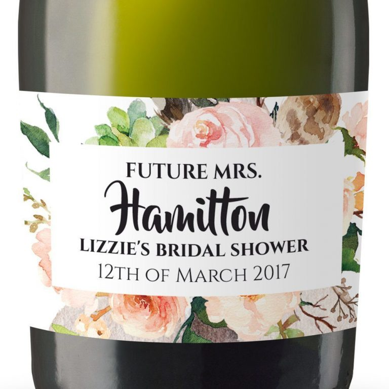 Future Mrs Personalized Mini Champagne Bottle Label Stickers for Bridal Shower, Bachelorette and Engagement Party