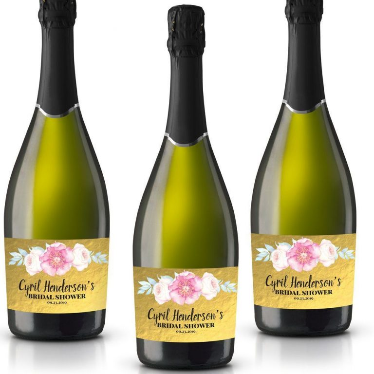 Golden Floral Personalized Mini Champagne Bottle Label Stickers for Bridal Shower, Bachelorette and Engagement Party