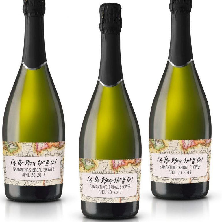 Places We'll Go! Personalized Mini Champagne Bottle Label Stickers for Bridal Shower, Bachelorette and Engagement Party