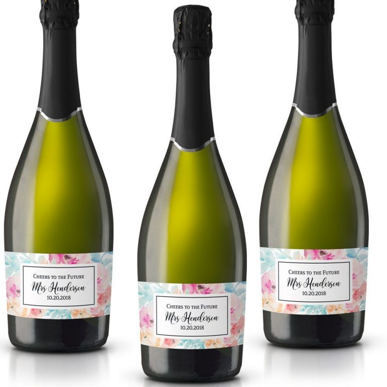 Cheers! Personalized Mini Champagne Bottle Label Stickers for Bridal Shower, Bachelorette and Engagement Party
