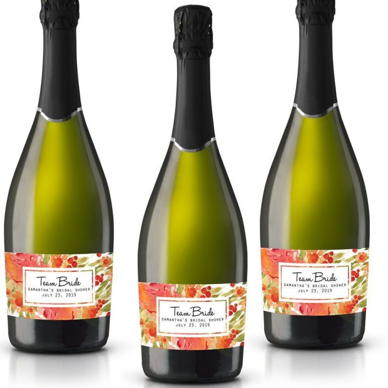 Team Bride Personalized Mini Champagne Bottle Label Stickers for Bridal Shower, Bachelorette and Engagement Party