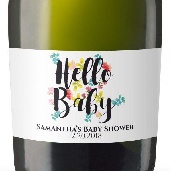 Hello Baby! Personalized Mini Champagne Bottle Label Stickers for Baby Shower Party