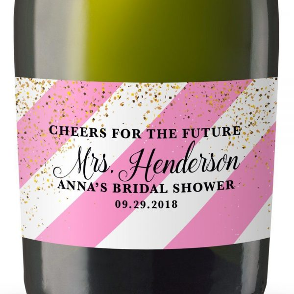 Cheers Personalized Mini Champagne Bottle Label Stickers for Bridal Shower, Bachelorette and Engagement Party