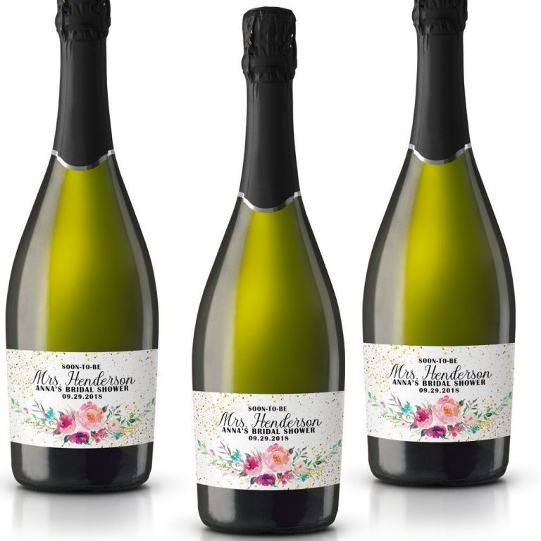 Soon-To-Be Personalized Mini Champagne Bottle Label Stickers for Bridal Shower, Bachelorette and Engagement Party