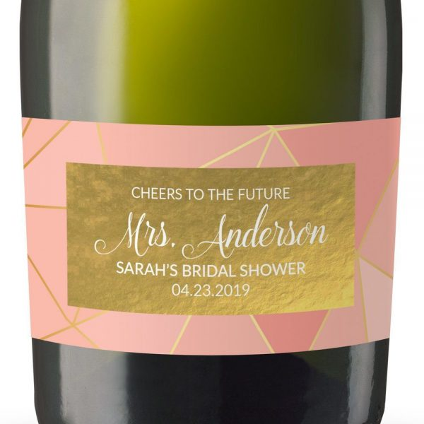 Cheers To Future Personalized Mini Champagne Bottle Label Stickers for Bridal Shower, Bachelorette and Engagement Party