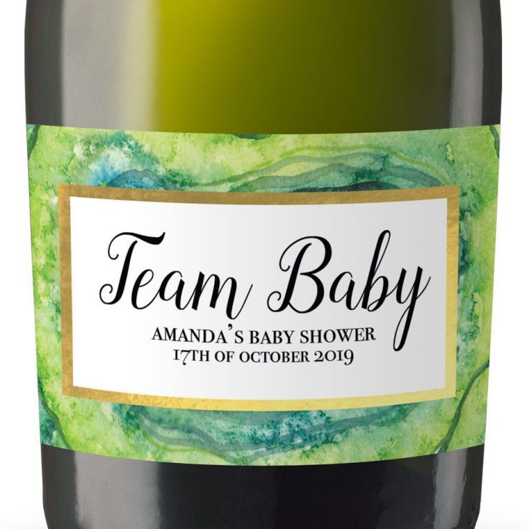 Team Baby Personalized Mini Champagne Bottle Label Stickers for Baby Shower Party
