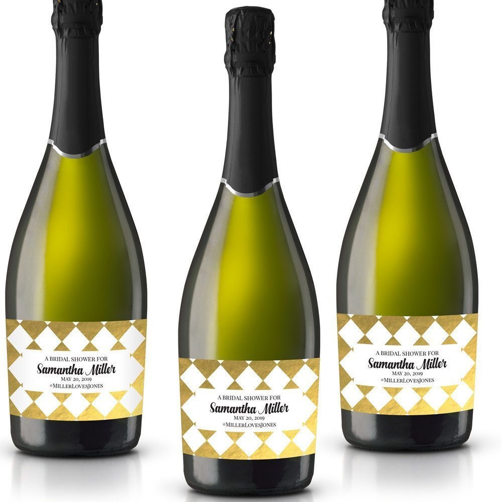 A Bridal Shower Personalized Mini Champagne Bottle Label Stickers for Bridal Shower, Bachelorette and Engagement Party