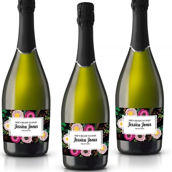 Ready To Pop! Personalized Mini Champagne Bottle Label Stickers for Baby Shower Party