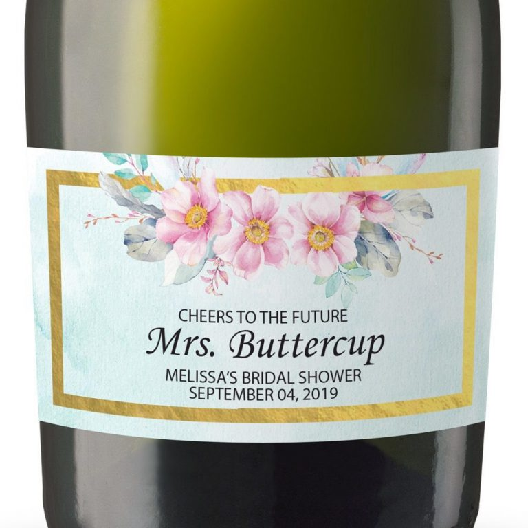 Mrs Buttercup Personalized Mini Champagne Bottle Label Stickers for Bridal Shower, Bachelorette and Engagement Party