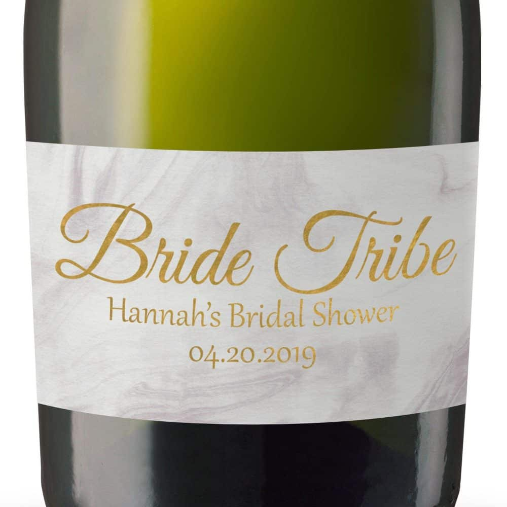Bride Tribe Gift Personalized Mini Champagne Bottle Label Stickers for Bridal Shower, Bachelorette and Engagement Party