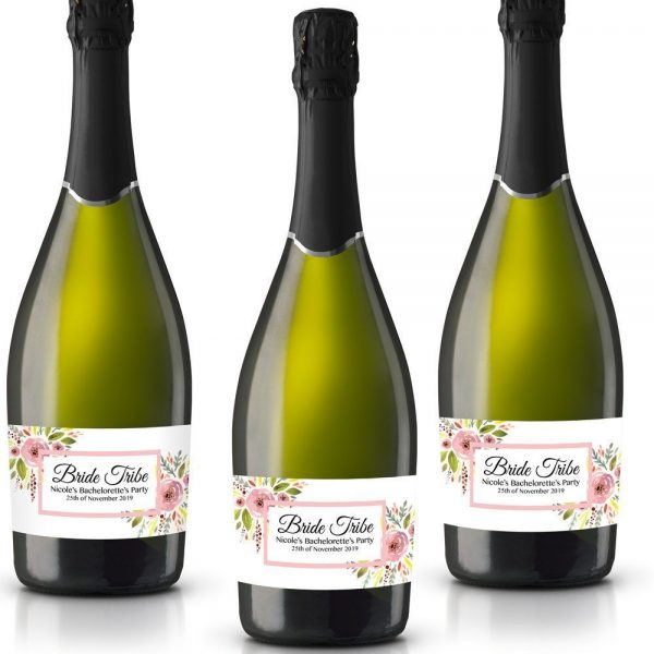 Bride Tribe III Personalized Mini Champagne Bottle Label Stickers for Bridal Shower, Bachelorette and Engagement Party