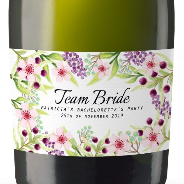 The Team Bride Personalized Mini Champagne Bottle Label Stickers for Bridal Shower, Bachelorette and Engagement Party