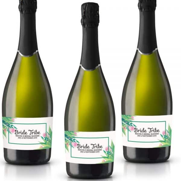 Bride Tribe IV Personalized Mini Champagne Bottle Label Stickers for Bridal Shower, Bachelorette and Engagement Party