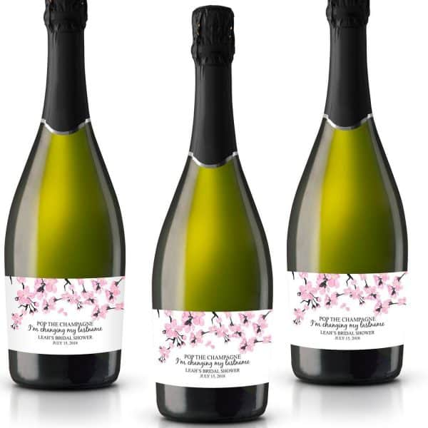 The Champagne Personalized Mini Champagne Bottle Label Stickers for Bridal Shower, Bachelorette and Engagement Party