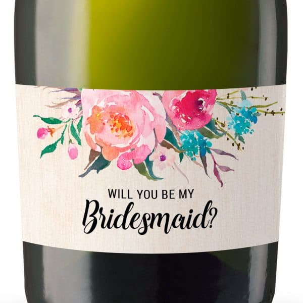 Rustic Will you be my bridesmaid stickers, Will you be my maid of honor, will you be my matron of honor, mini champagne bottle labels 97