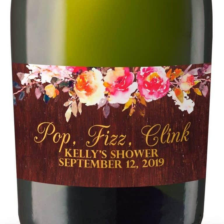 Rustic Mini Champagne Bottle Labels for Bridal Shower, Bridal Shower Mini Champagne Bottle Labels, Custom Champagne Label MN#100