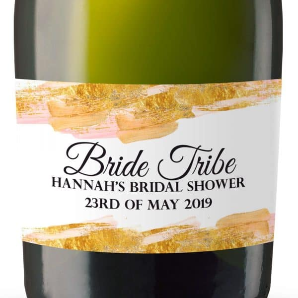 Bride Tribe Party Personalized Mini Champagne Bottle Label Stickers for Bridal Shower, Bachelorette and Engagement Party