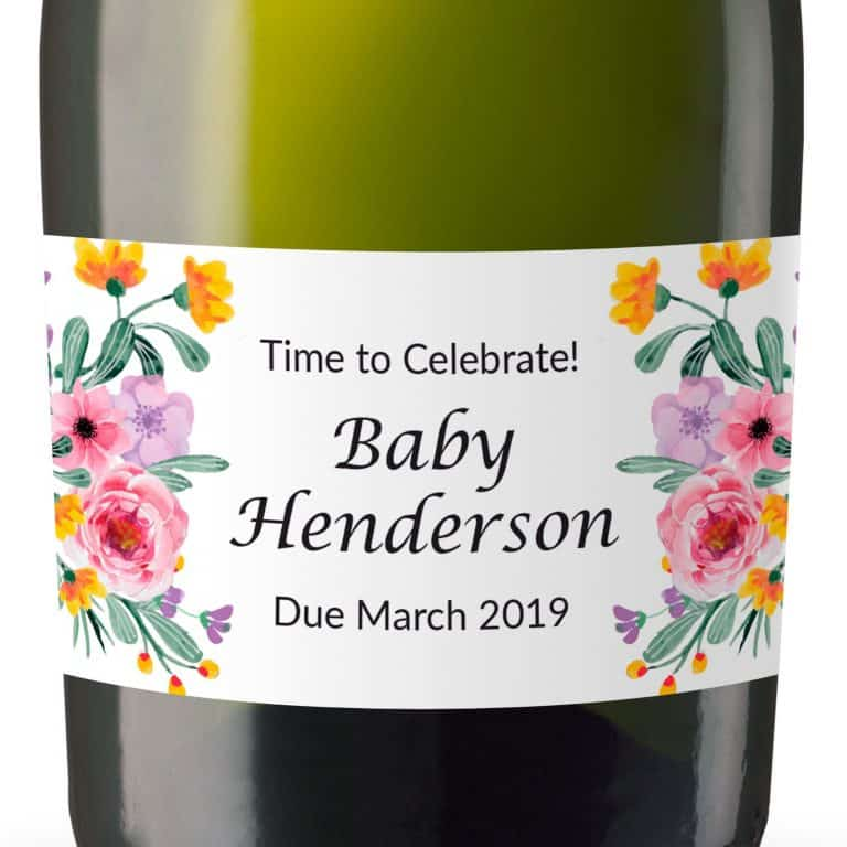 Mini Champagne Pregnancy Label Stickers, Custom and Personalized Pregnancy Baby Announcement Label Sticker mn106
