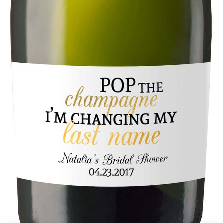 Pop The Champagne Personalized Mini Champagne Bottle Label Stickers for Bridal Shower, Bachelorette and Engagement Party
