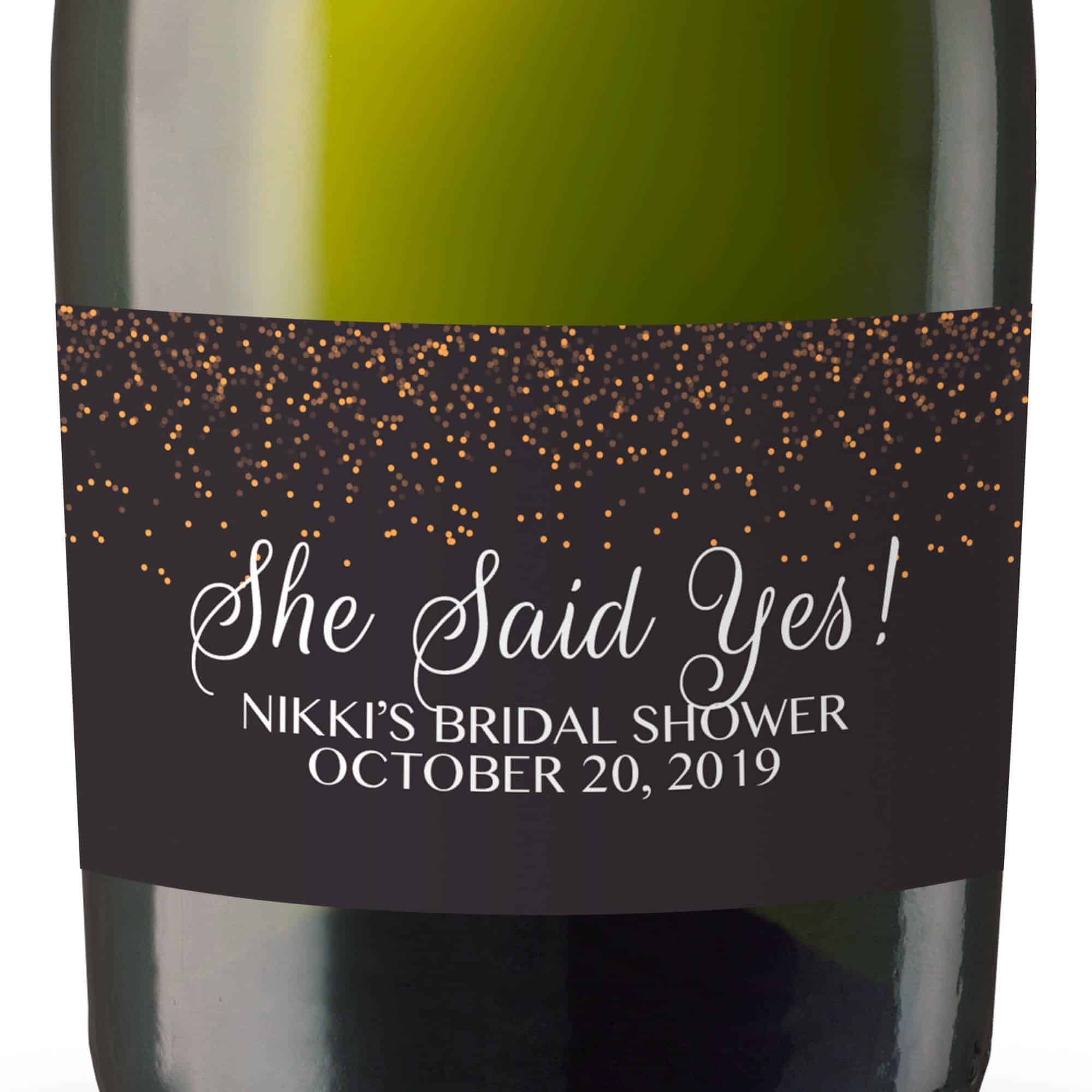 She Said Yes Mini Champagne Bottle Labels for Bridal Shower, Bridal Shower Mini Champagne Bottle Labels, Custom Champagne Label MN#120