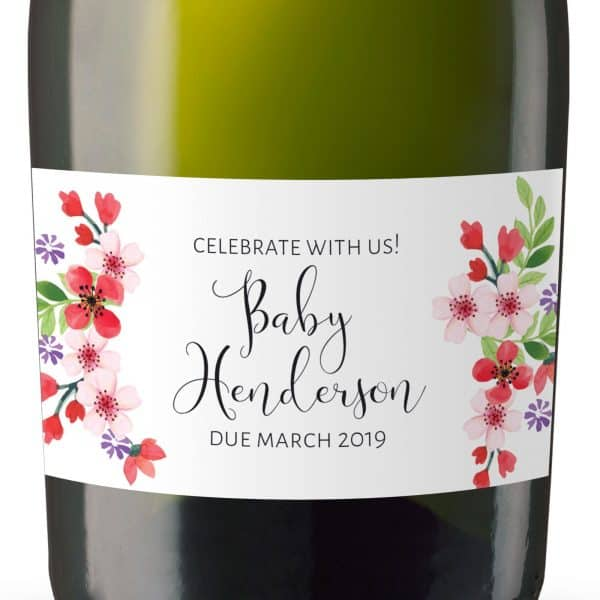 Mini Champagne Pregnancy Label Stickers, Custom and Personalized Pregnancy Baby Announcement Label Sticker mn107