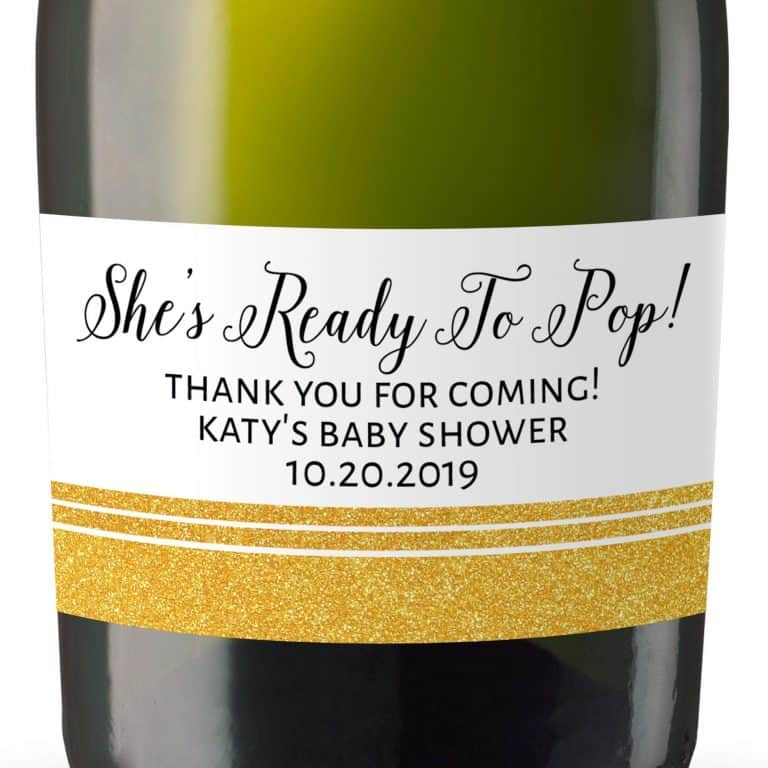 Mini Champagne Bottle Labels for Baby Shower, Baby Shower Mini Champagne Bottle Labels, Custom Champagne Label, MN#123