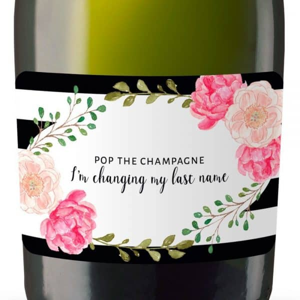 Pop The Champagne Im Changing my Last Name Mini Champagne Bottle Label Stickers for Bridal Shower Party Favors, Set of 10 mn133