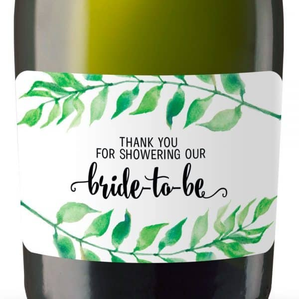 Thank You For Showering Our Bride-to-be Mini Champagne Bottle Label Stickers for Bridal Shower Party Favors, Set of 20, mn135