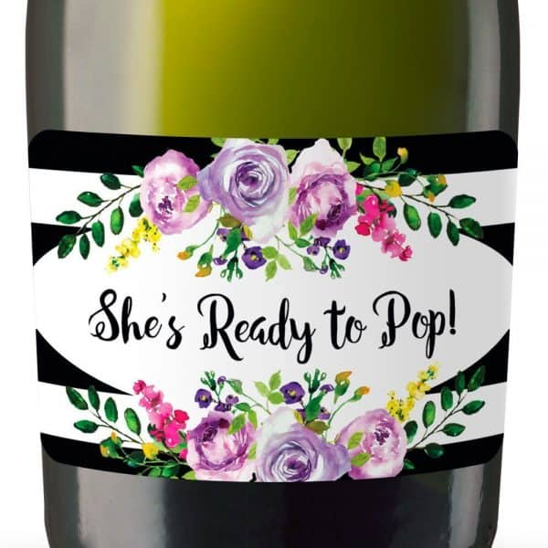 Set of 20 She's Ready to Pop Mini Champagne Bottle Label Stickers for Baby Shower Party Favors, Set of 20, mn137