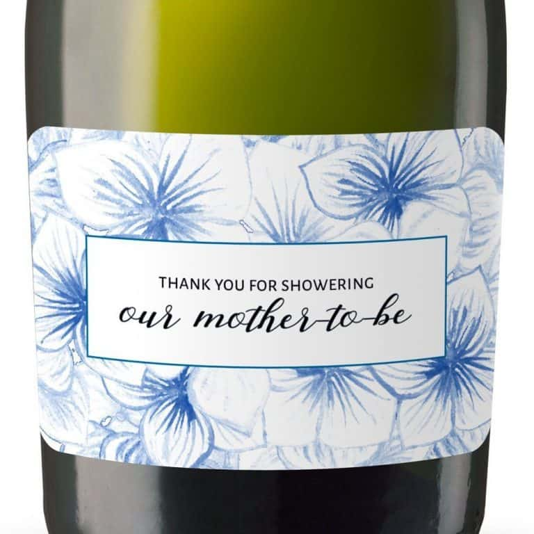 Mother-to-be Mini Champagne Bottle Label Stickers for Baby Shower Party Favors, Set of 20, Thank You Favors mn146