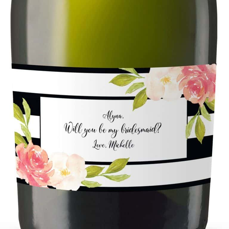Mini Champagne Bottle Label Garden Art, Bridal Shower Party, Bridal Celebration Gift, Thank You Gift, Event Bridal label,Customizable mn150
