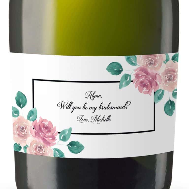 Mini Champagne Bottle Label Garden Art, Bridal Shower Party, Bridal Celebration Gift, Thank You Gift, Event Bridal label,Customizable mn151