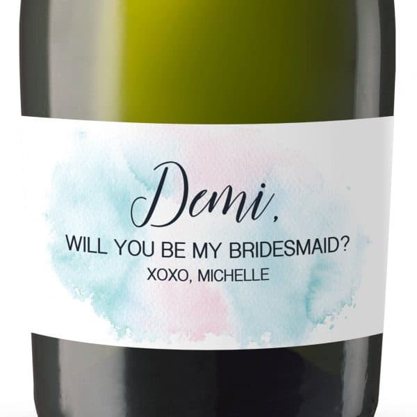 Watercolor Mini Champagne Wine Bottle Label Sticker, Bridal Shower,Will You Be My Bridesmaid,Matron&Maid of Honor Proposal Gift,Custom mn155