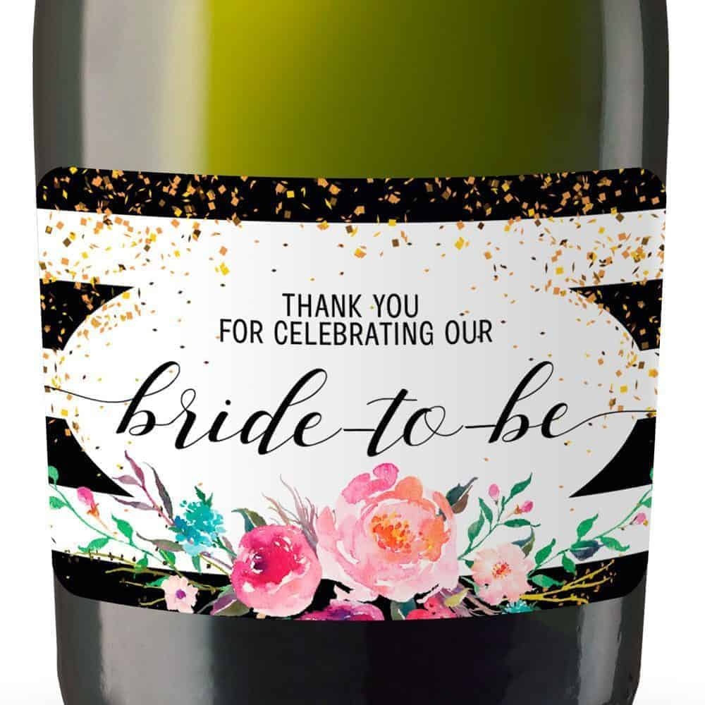 Thank you for celebrating our bride-to-be Mini Champagne Bottle Label Stickers for Bridal Shower Party Favors, Set of 20 mn132