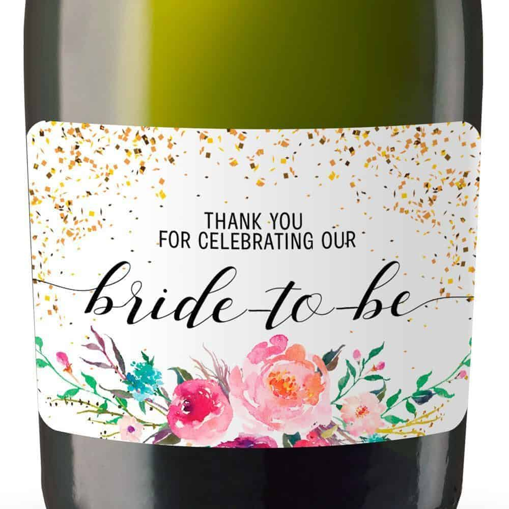 Mini Champagne Bottle Label Stickers for Bridal Shower Party Favors, Set of 20, Weatherproof Labels, mn134