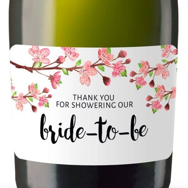 Thank You For Showering Our Bride-to-be Mini Champagne Bottle Label Stickers for Bridal Shower Party Favors, Set of 20, mn136
