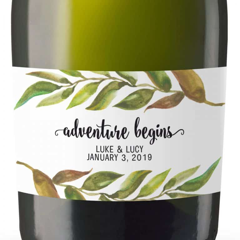 "Mini Champagne Bottle Label Sticker ""Adventure Begins"" by LoveAtEverySight"