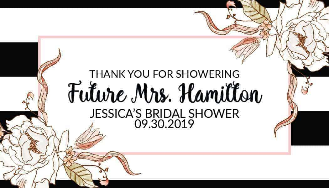 Thank You For Showering Mini Champagne Bottle Label Sticker, Bridal Shower Party - Customizable Thank You Gift Invitation Sticker #mn148