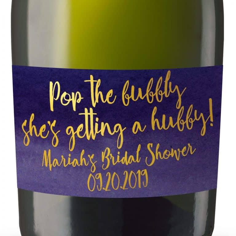 "Mini Champagne Bottle Label ""Purple& Gold"" by LoveAtEverySight"