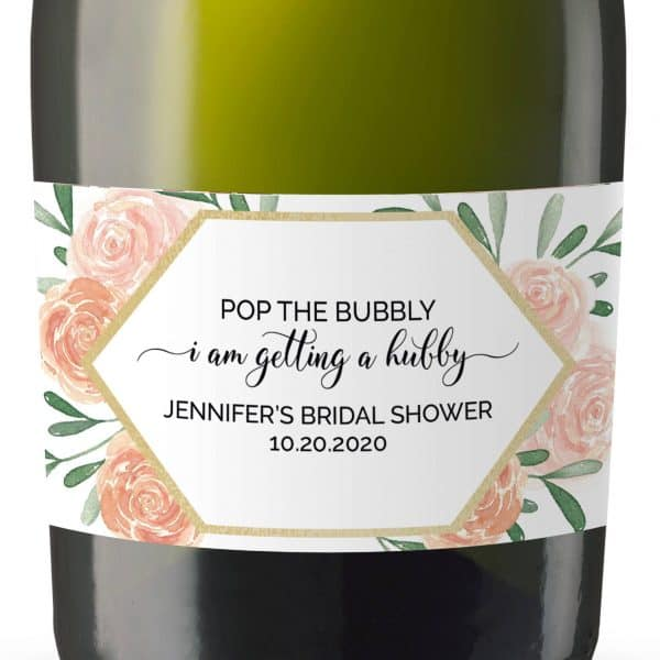 Pop the Bubbly...!, Mini Champagne Bottle Labels for Bridal Shower, Bridal Shower Mini Champagne Bottle Labels, Custom Champagne Label mn167