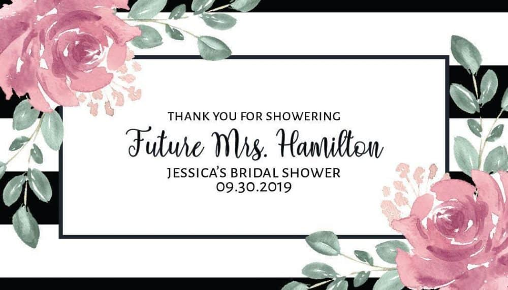 """Mini Champagne Bottle Label Sticker """"Thank You For Showering"""", Bridal Shower Party - Customizable Thank You Gift Invitation Sticker #mn147"""