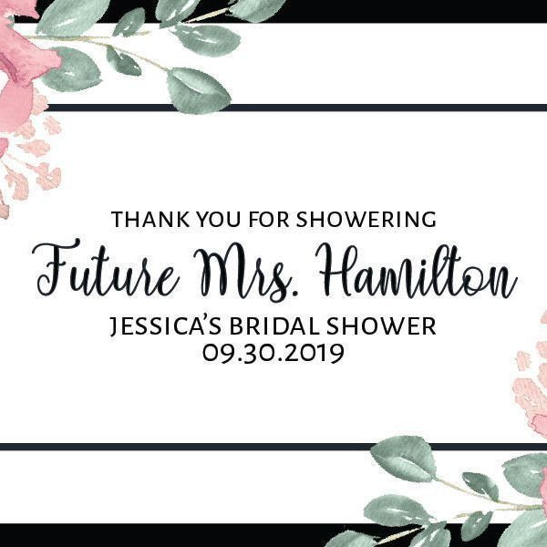 "Mini Champagne Bottle Label Sticker ""Thank You For Showering"", Bridal Shower Party - Customizable Thank You Gift Invitation Sticker #mn147"