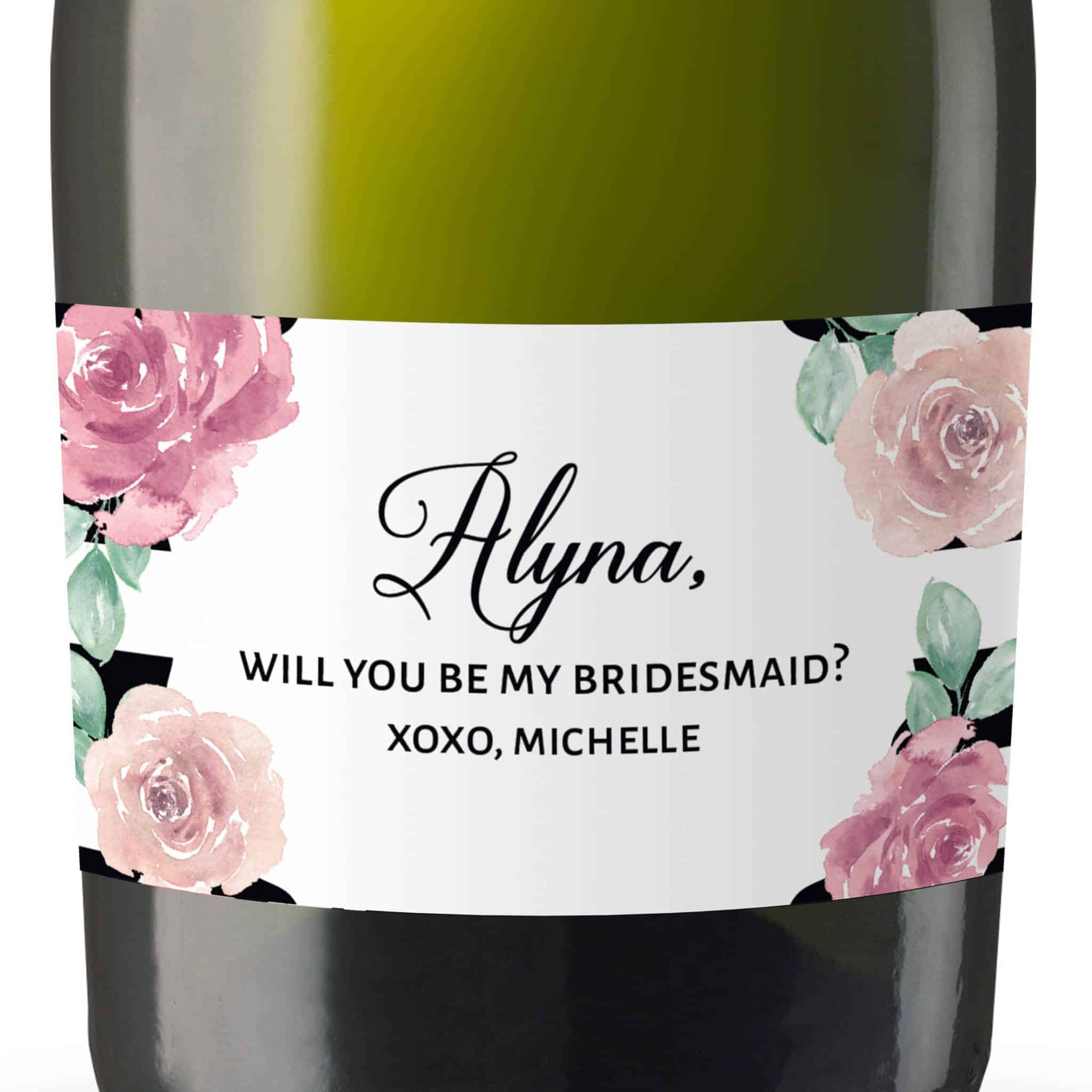 Floral Art Mini Champagne Wine Bottle Label Sticker,Bridal Shower,Will You Be My Bridesmaid,Matron&Maid of Honor Proposal Gift,Custom #mn152