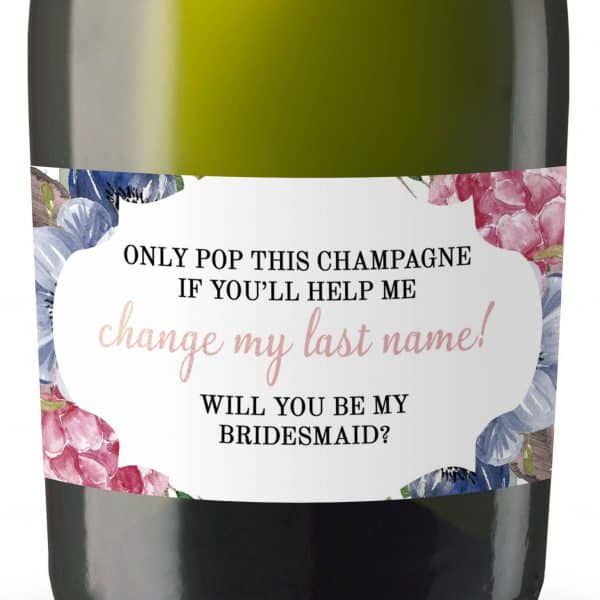 Change My Last Name! Will you be my Bridesmaid&Maid of Honor, Matron of Honor, Mini Champagne Bottle Label Stickers, Bridesmaid Proposal 170